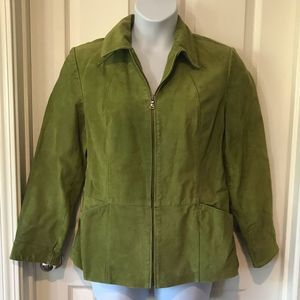 BERNARDO Leather Suede Jacket Green L Nordstrom
